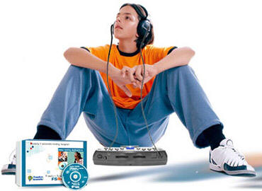 Teen listening to audio with FSReader and a PAC Mate BX400